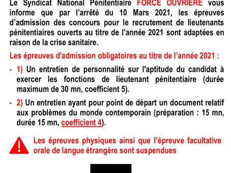 RECRUTEMENT LIEUTENANT Session 2021 : Adaptation des épreuves en raison de la Covid-19
