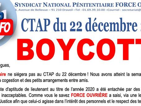 BOYCOTT du CTAP du 22 décembre 2020 !