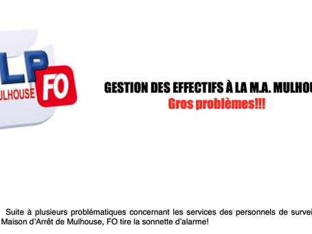Prison de Mulhouse : Gestion des effectifs à la Maison d'Arrêt. Gros problèmes !