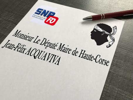Lettre du SLP-FO Ajaccio à Monsieur le Député Maire de Haute Corse Jean-Félix Acquaviva