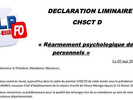 Prison de Fleury-Mérogis : Déclaration Liminaire lors du CHSCTD