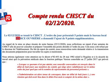 Prison de Valence : Compte rendu CHSCT du 02 décembre 2020