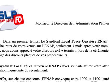 ENAP : Lettre à Monsieur le Directeur de l'Administration Pénitentiaire