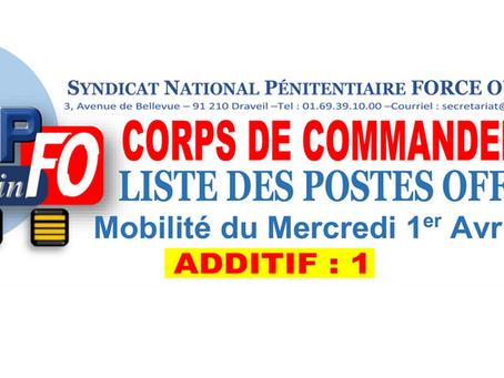 CORPS DE COMMANDEMENT : Liste des postes offerts, mobilité du mercredi 1er Avril 2020