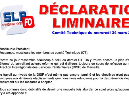 Prison d'Avignon-Le-Pontet : Déclaration Liminaire lors du Comité Technique du 24 mars 2021