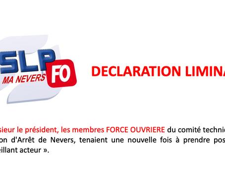 Prison de Nevers : Déclaration Liminaire