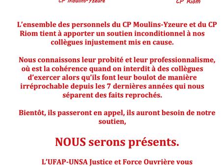 Prisons de Riom et Moulins-Yzeure : Communiqué de soutien !