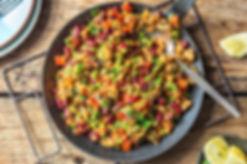 Chicken and kidney bean paella