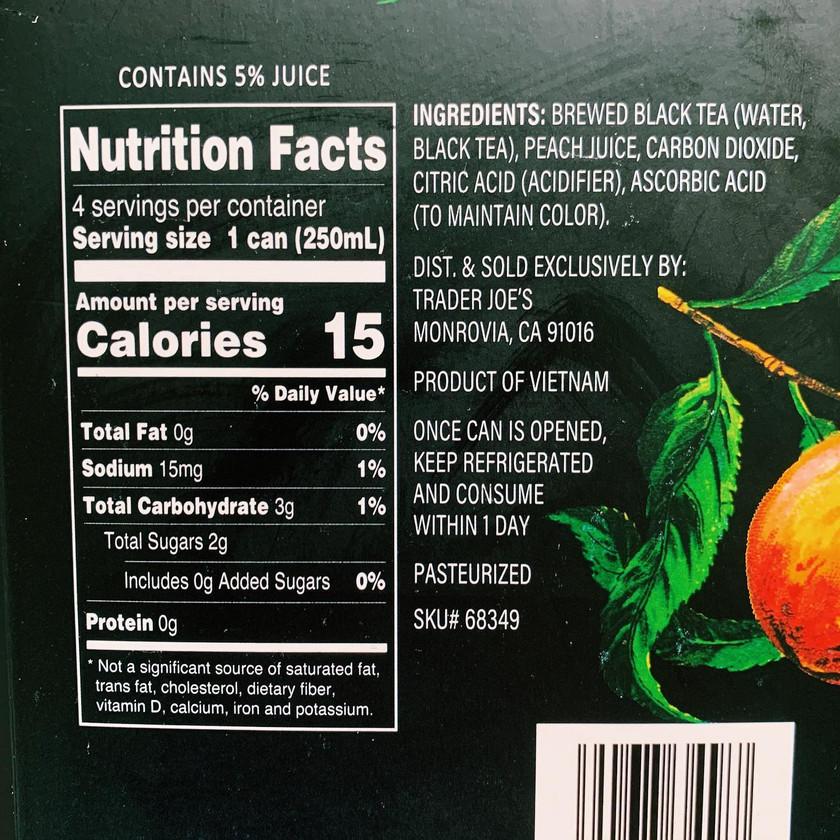 Trader Joe's Sparkling Black Tea with Peach Juice