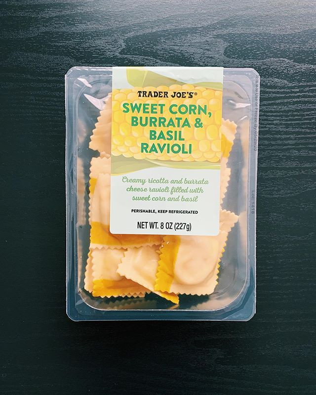 Trader Joe's Sweet Corn, Burrate & Basil Ravioli
