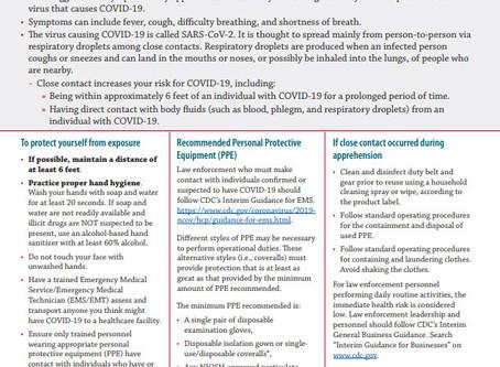 COVID-19 (Coronavirus) Guidelines For Law Enforcement