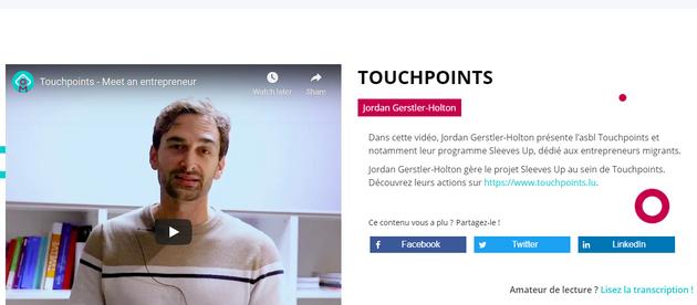Une interview vidéo sur Touchpoints ASBL par Meet An Entrepreneur