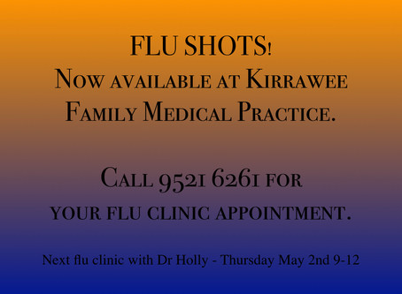 Flu Shots Now Available @ KFMP - Book Your Flu Clinic Appointment