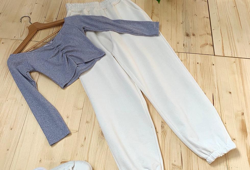 Maglietta cotone costina grigia