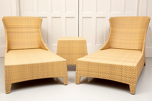Pair of Grange Wingback Loungers with Side Table (Set 3 of 3)