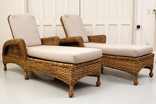 Set of Rustic Woven Chaises & Matching Side Table