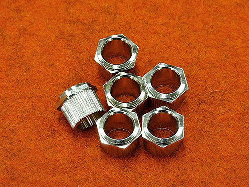 HEX HEAD TUNERS BUSHING Nickel - (SET 6) (1/4 ID)