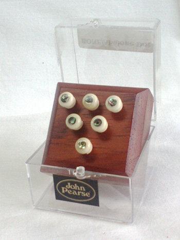 John Pearse Bone 6 Pin SET w/ABALONE Dot French Ey