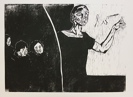 Singapore Artist, Printmaker Zhang Fuming. Woodcut Print