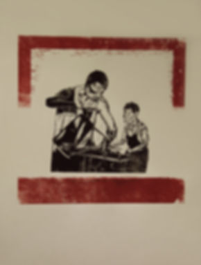 Singapore Artist, Printmaker Zhang Fuming Woodcut Print