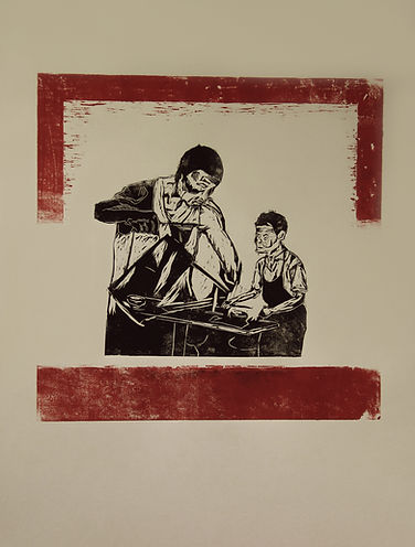 Singaporean Artist/Printmaker Zhang Fuming. Woodcut on Paper.