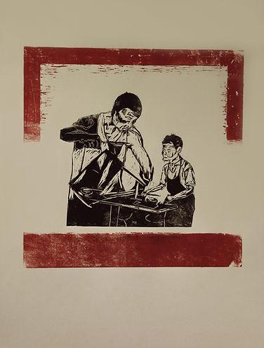 Singaporean Artist/Printmaker Zhang Fuming. Woodcut on Paper.