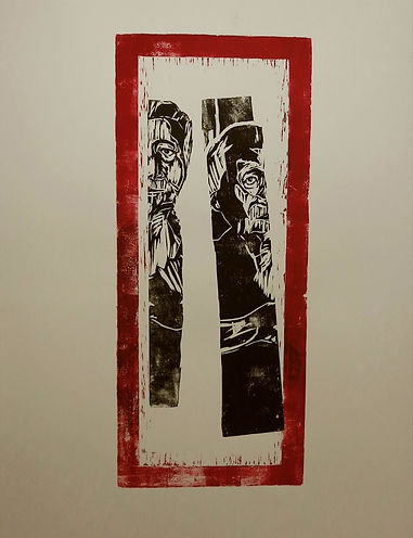 Singaporean Artist/Printmaker Zhang Fuming. Woodcut on Paper