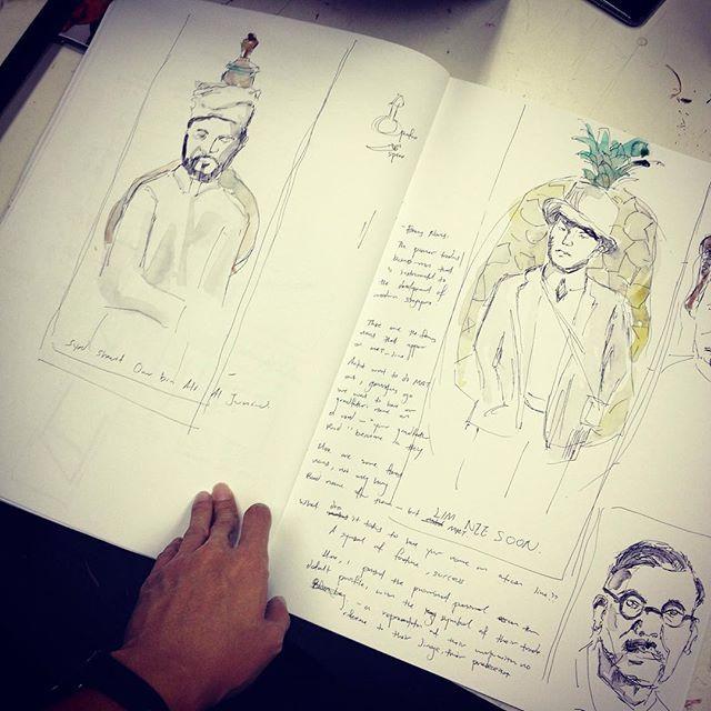 Drawing of Lim Nee Soon, Syed Omar Aljunied, Tan Kah Kee