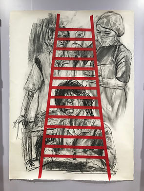 Zhang Fuming, Ladder 1. Charcoal Drawing and Tape