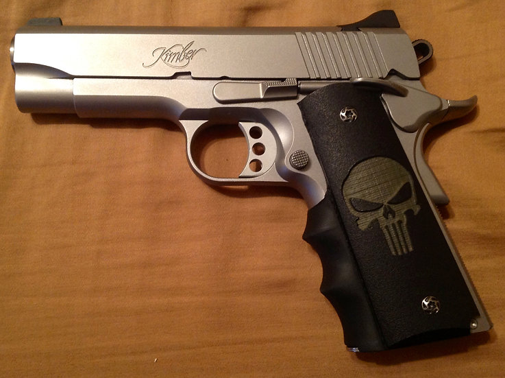 COMPACT GRITTY 1911 PUNISHER GRIPS - O.D. ON BLACK