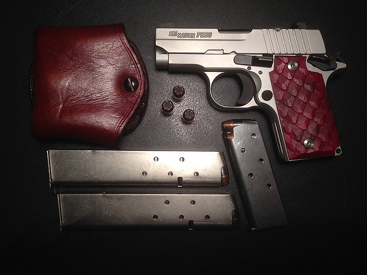 P238 DRAGON SCALE GRIPS - BLOOD RED
