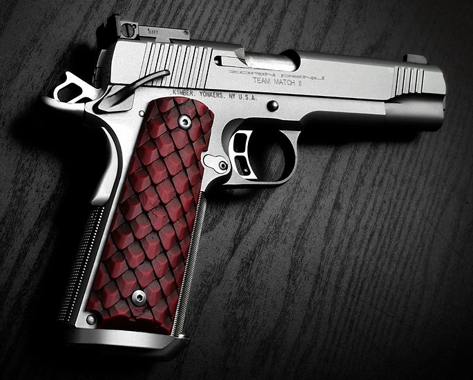 FULL-SIZE 1911 DRAGON SCALE GRIPS - BLOOD RED