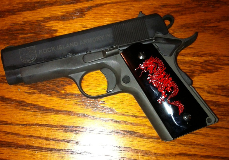 COMPACT SMOOTH 1911 RED DRAGON GRIPS