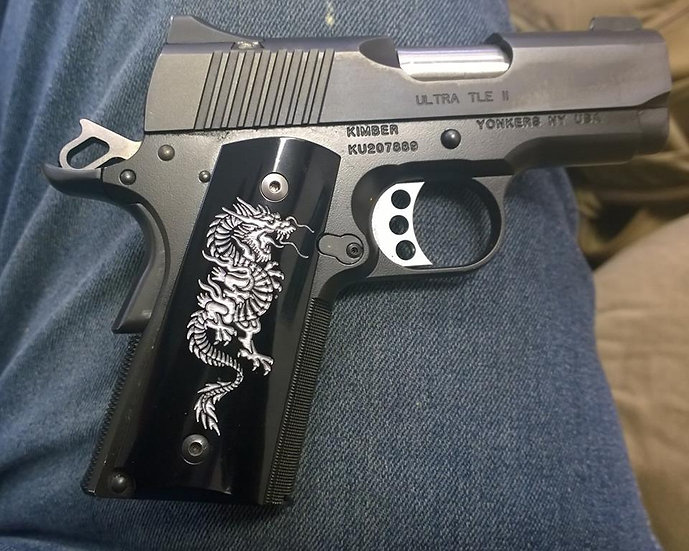 COMPACT SMOOTH 1911 SILVER DRAGON GRIPS