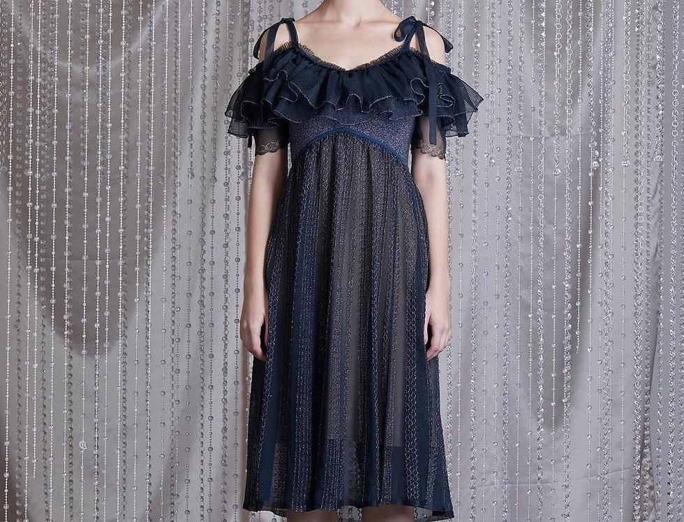 Sapphire ruffle knitted flare dress