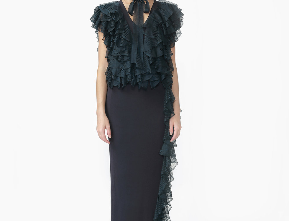 Clover ruffle knitted top with split maxi skirt