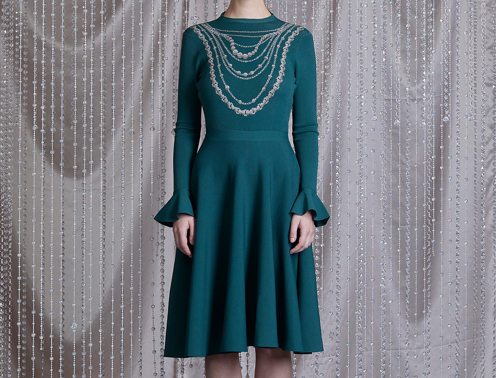 Emerald jacquard flare dress