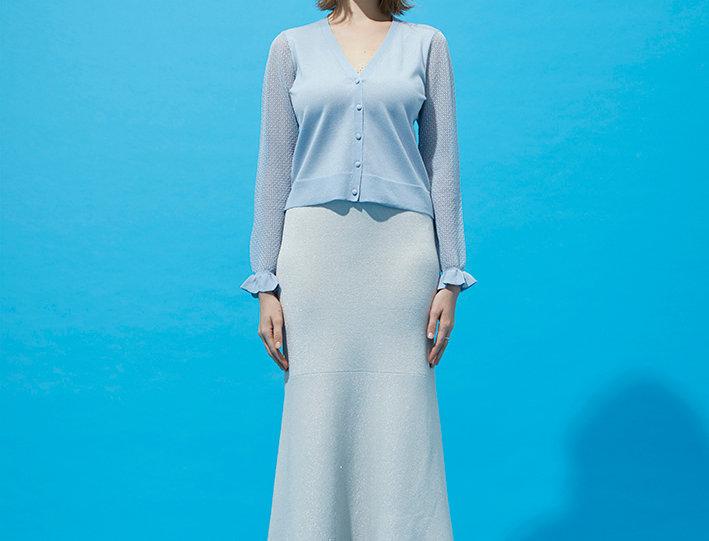 Lake V-neck cardigan with lurex maxi skirt