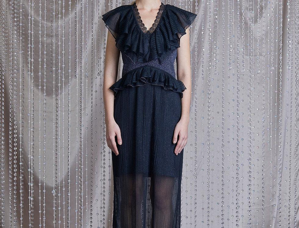 Sapphire ruffle knitted maxi dress