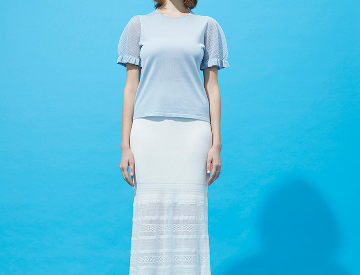 Lake knitted top with midi pencil skirt