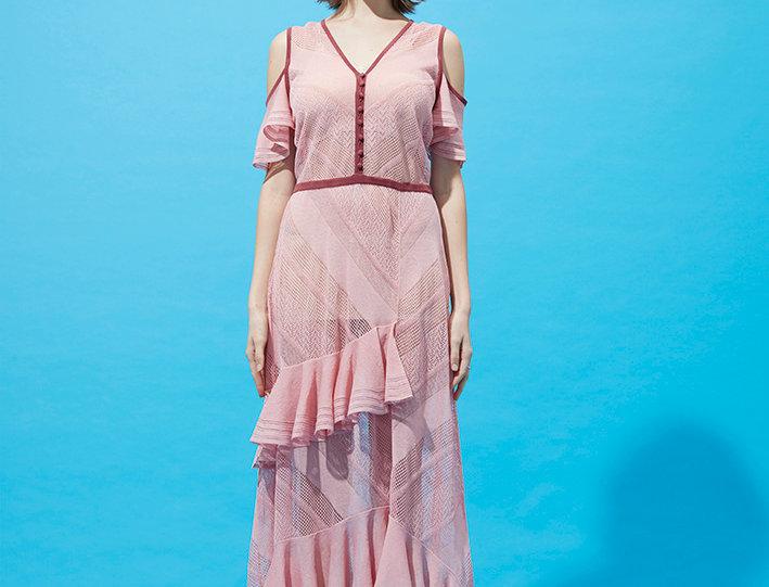 Coral ruffle maxi dress