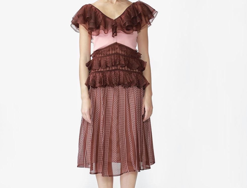 Clover V-neck ruffle knitted midi dress