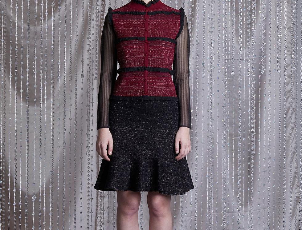 Ruby jacquard cardigan with lurex ruffle skirt