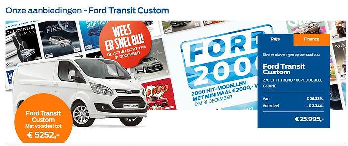 Aanbieding van Ford Dekker groep betreffende Ford Transit Custom, voordeel tot 5252,-- euro