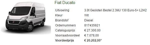 Aanbieding Fiat Ducato van 27000 naar 20000,--