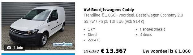 Aanbieding nieuwe Volkswagen Caddy