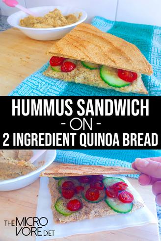 Hummus Sandwich on 2 Ingredient Quinoa Bread