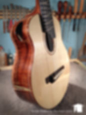 T14 5-string tenor. Tuned to cello. Old Growth Bastogne Walnut w/ Carpathian Spruce.