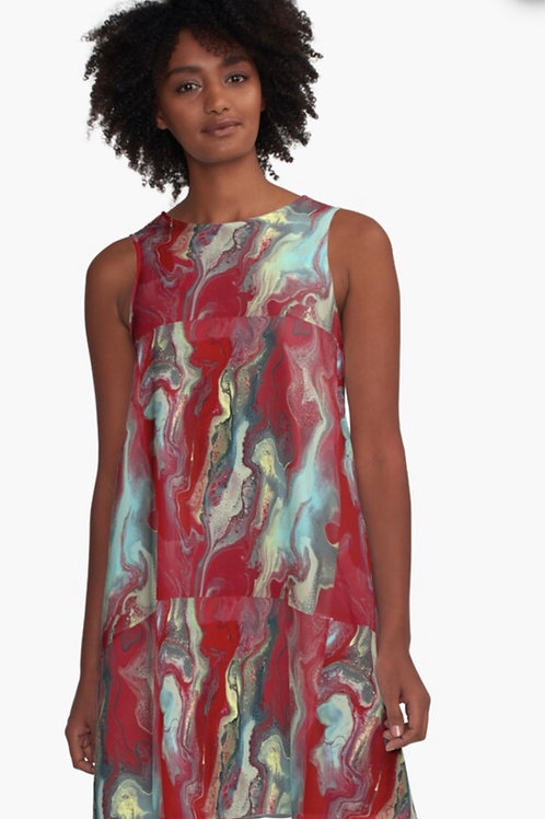 Dress- Red with Turquoise