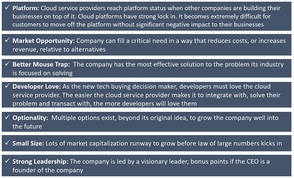 Characteristics of High Growth Potential Cloud Platform Service Stocks